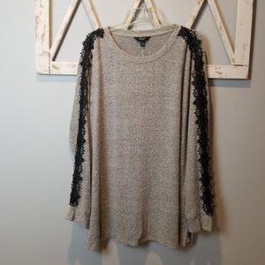 Simpy Vera Vera Wang gray sweatshirt with lace XL